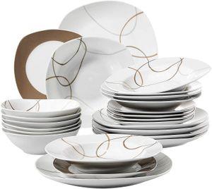 VEWEET Tafelservice 'Nikita' aus Porzellan 24 teilig | Geschirrset beinhatlet Müslischalen, Dessertteller, Speiseteller und Suppenteller| Geschirrservice für 6 Personen