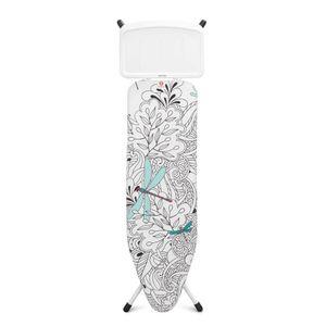 Brabantia Streckmetall Bügeltisch mit Dampfstationsablage Solide, Bügel Tisch, Bügelbrett, Dragonfly / Fresh White, 124 x 38 cm, 116001