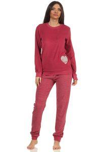 Damen Frottee Pyjama mit Bündchen - Hose gestreift, Top mit Herz Applikation - 212 13 804, Farbe:rot, Größe:40-42