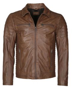 Maze Herren Lederjacke William Übergangsjacke schwarz Biker Look mit gesteppten Oberarmen, Grösse:L, Farbe:Braun