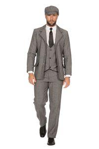 SAKKO tailliert 20er Jahre Peaky Blinders Herren Kostüm Schwarz-Weiß, Größe:54