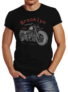 Herren T-Shirt Motorrad Motorbike Brooklyn Slim Fit Neverless® schwarz L