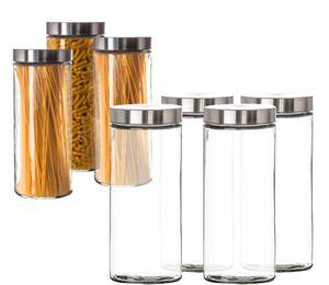 Vorratsgläser 4x 2,2 Liter Set Glas Schraubglas Lebensmittelglas Edelstahldeckel Schraubverschluss
