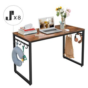 VASAGLE Schreibtisch mit 8 Haken | 120 x 60 x 75 cm verstellbare Standfüße Computertisch Metall Bürotisch Industrie-Design vintagebraun-schwarz LWD58X