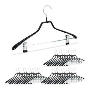 relaxdays 30x Klammerbügel Kostümbügel Kleiderbügel platzsparend rutschfest Metall schwarz