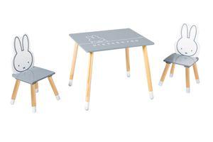 roba Kinder Sitzgruppe miffy®, Kindermöbel Set aus 2 Kinderstühlen & 1 Tisch, Sitzgarnitur, Holz, dunkelgrau, weiß, lackiert