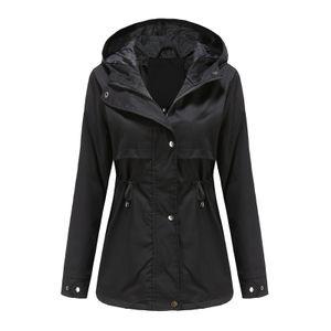 Damen-Taillen-Outdoor-Regenjacke mit Kapuze mit Reißverschluss-Hoodie,Farbe: Schwarz,Größe:S