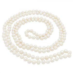 Lange Kette aus Perlen Süßwasserperlen creme-weiß endlos geknotet 160cm Perlenkette Damen