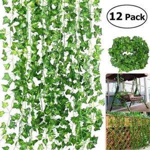 Miixia 12X2m Efeugirlande Efeubusch Grünpflanze Künstliche Pflanzen Kunstpflanze Deko