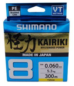 Shimano Kairiki 8, 300m, 0,06mm, 5.3 / 11,68lbs, gelb, 8fach Geflochtene Angelschnur, 59WPLA68R30