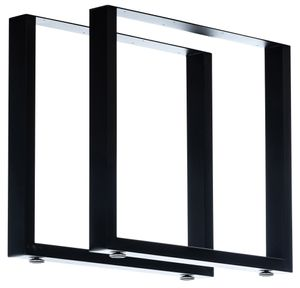 CLP 2er Set Tischbeine Velden aus Vierkantprofilen, Farbe:schwarz, Größe:80 cm