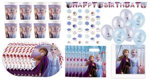 Frozen II - Kindergeburtstags-Set (57-teilig) Eiskönigin Teller Becher Servietten Geburtstag Pixar