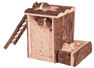 spiel- und Buddelturm Nager 20 x 20 cm Holz braun