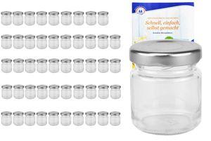 50er Set Mini Sturzgläser 53 ml To 43 silberner Deckel Marmeladengläser Gläser incl. Rezeptheft