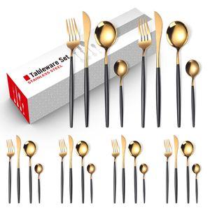 Besteck Set 24 Stücke, Rutschfestes Besteckset aus Edelstahl,Kann von sechs Personen verwendet werden(Schwarzes Gold)