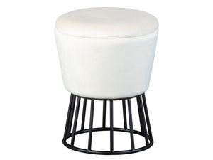Design Sitzhocker inkl. Stauraum Hocker Samt weiß mit Fußgest. aus Metall