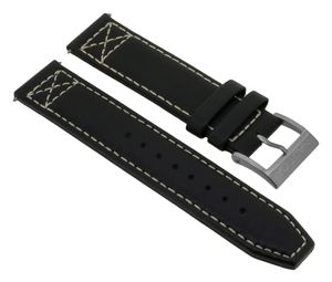 Nautica Herren > Uhrenarmband 20mm Leder schwarz helle Naht > A14696G
