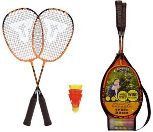 Talbot-Torro Speed-Badminton Set Speed 2200, 2 leichte Rackets, 2 windstabile Bälle, im 3/4 Bag, schön handlich auch für Kids, schwarz-orange