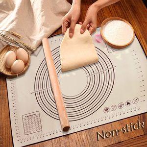 Silikon Backmatte Baking Mat BPA frei Silikonmatte Nonstick mit Messungen Fondant Teig Gebäck Backmatte Teigmatte Wiederverwendbar für Fondant Gebäck Pizza Matte (60 X 40cm Schwarz)