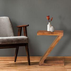 WOMO-DESIGN Beistelltisch Z-Form 60 cm, Braun, Unikat, handgefertigt aus Massivholz Akazienholz, Couchtisch Kaffeetisch Wohnzimmertisch Sofatisch Loungetisch Holztisch verschiedene Buchstaben Formen
