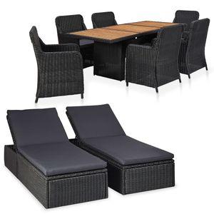 Gartenmöbel Essgruppe 8 Personen ,9-TLG. Terrassenmöbel Balkonset Sitzgruppe: Tisch mit 8 Stühle Poly Rattan Schwarz❀2939