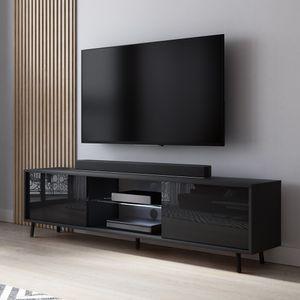 TV-Lowboard Lefyr in Schwarz mit Hochglanzfronten und LED-Beleuchtung, 140 cm