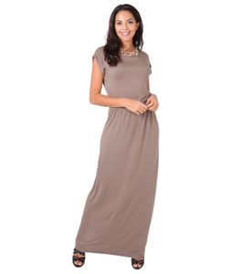 Damen Bodenlanges Kleid Langes Jersey Maxikleid Strandkleid