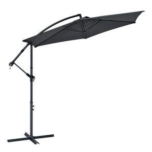 Juskys Ampelschirm Brazil 350 cm Kurbel & Ständer – UV-Schutz wasserabweisend knickbar – Sonnenschirm Marktschirm – grau