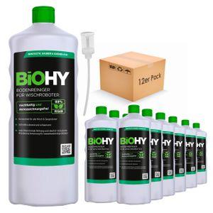 BIOHY Bodenreiniger für Wischroboter (12x1l Flasche) + Dosierer | Konzentrat für alle Wisch & Saugroboter mit Nass-Funktion | nachhaltig & ökologisch