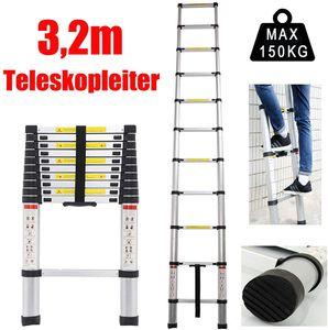 Alu-Teleskopleiter 11 Stufen bis 3,2 Meter ausziehbar max. 150 kg Traglast