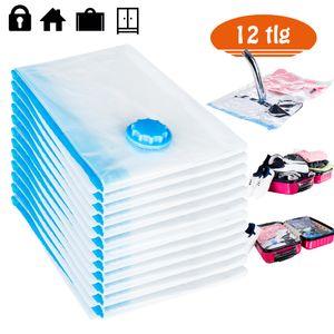 Rexoo Set 12tlg Vakuum Beutel 100x80cm Aufbewahrungsbeutel Tasche Tüte Vacuum für Textilien jeder Art Platzsparer