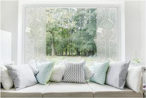TEXMAXX Milchglas Fensterfolie Sichtschutz - 45cm x 100cm - SF09 weißes Efeu Design - blickdicht statisch selbsthaftende Milchglasfolie Sichtschutzfolie