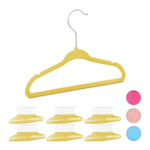 relaxdays 60 x Kleiderbügel Kinder, Babybügel gelb, Hosenbügel Samt, Babykleiderbügel