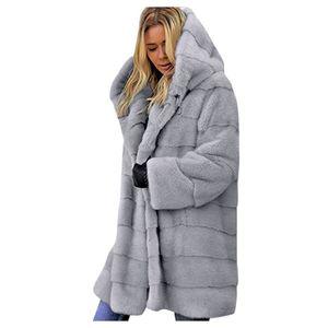 Damen Faux-Fur 'Gilet Langarm Weste Body Warmer Jacke Mantel Outwear Größe:M,Farbe:Grau