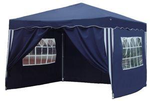 Kronenburg Faltpavillon WASSERDICHT Pavillion Gartenzelt Dachmaß 3x3m UV-Schutz Blau mit 4 Seiten