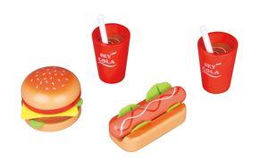 Lelin 40152 Holz - Hamburger, Hot Dog und Getränk Menü Set. 17 teilig