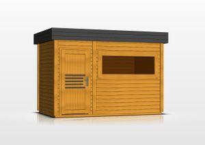Saunahaus Lut 40 mm mit großem Panoramafenster, Farbe: Eiche / Anthrazit - Außenmaße (B x T): 354 x 204 cm