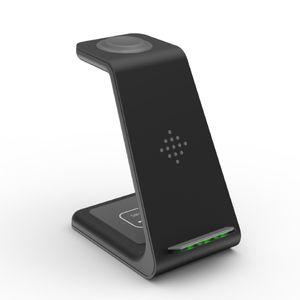 3 in 1 Qi Wireless Schnellladegeraet Dock Stand fuer iPhone fuer AirPods Pro Schwarz