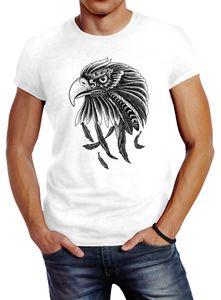Herren T-Shirt Adler Aufdruck Slim Fit Neverless® weiß M