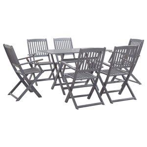 7-teiliges Outdoor-Essgarnitur Garten-Essgruppe Sitzgruppe Tisch + stuhl Massivholz Akazie Grau