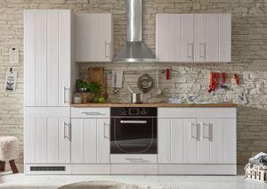 """Küche """"Landhaus"""" Küchenblock Küchenzeile Komplettküche 270cm Singleküche Miniküche Kleinküche weiß"""
