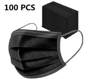 100x SUPERSTAR001 Mundschutz Maske 3-lagig Hygienemaske Atemschutz Einweg Schutzmaske Gummiband Schwarz