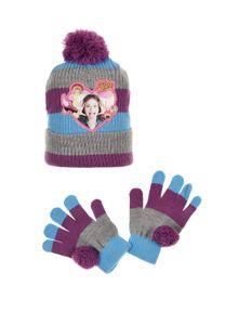 Disney SoyLuna Kinder Winter-Set 2-tlg. Winter-Mütze Bommel-Mütze & Handschuhe, Größe:54