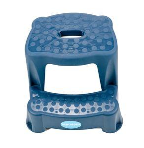 2 Tritt-Hocker für Kinder als Stehhilfe fürs Waschbecken und zum Sitzen, gummierte Füße, 2 Stufen, aufgeraute Stehfläche, Eingriff zum Tragen, leicht, Kunststoff, Tragkraft max. 45 kg, Farbe Dunkelblau