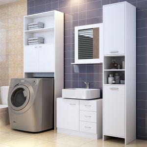 DEUBA Badmöbel Set Waschbeckenunterschrank Waschmaschinenschrank Hochschrank weiß