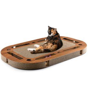 Katzenspielplatz PlayPlate walnuss - mit integrierter Kratzpappe Kratzbrett