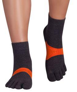 Knitido Marathon TS Zehensocken, Größe:39-42, Farbe:grau / orange (208)