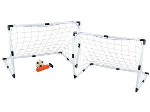 Fußballtor Set Groß+Klein Ball Handpumpe Leicht 3 Starke Netze Einfache Montage 6729