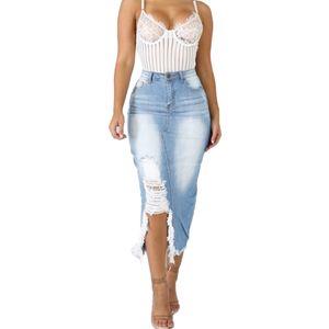 Frauen High Waist Ripped Split Denim Distressed Jeans Bodycon Langer Rock Hellblau L.