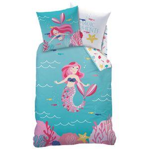 Meerjungfrau Mermaid Renforce-Bettwäsche mit Wende Motiv 135 x 200 cm - 100% Baumwolle